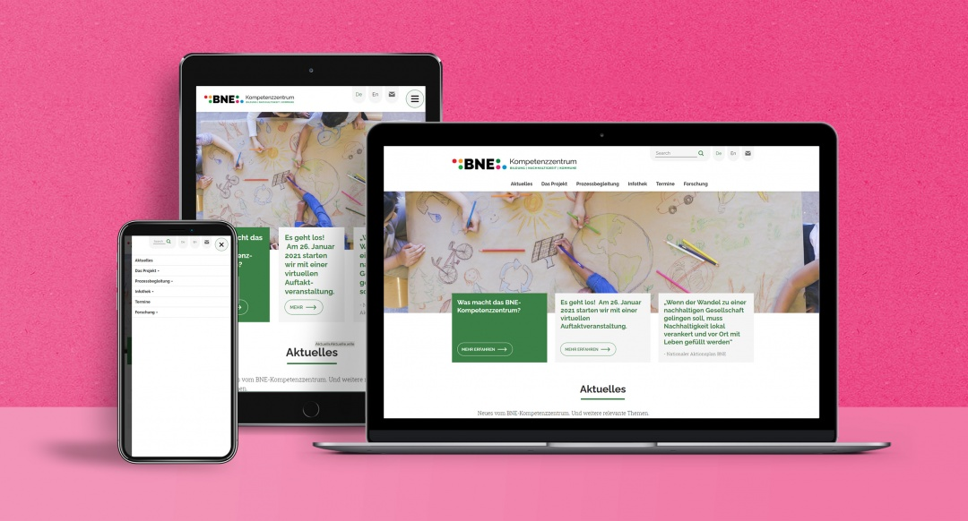 BNE-Kompetenzzentrum: mobile first Drupal Webdesign